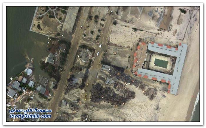 صور قبل وبعد إعصار ساندي