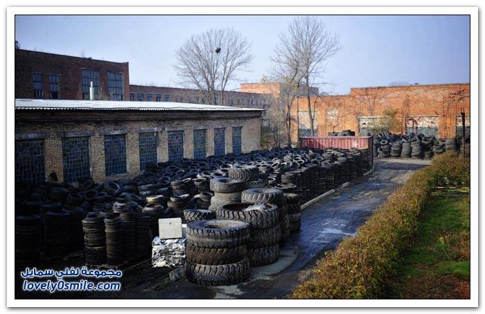 محطة للتخلص من الإطارات وإعادة استخدامها