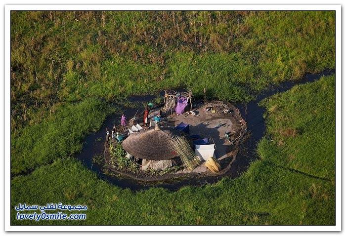 مساكن بعض القبائل في دولة جنوب السودان