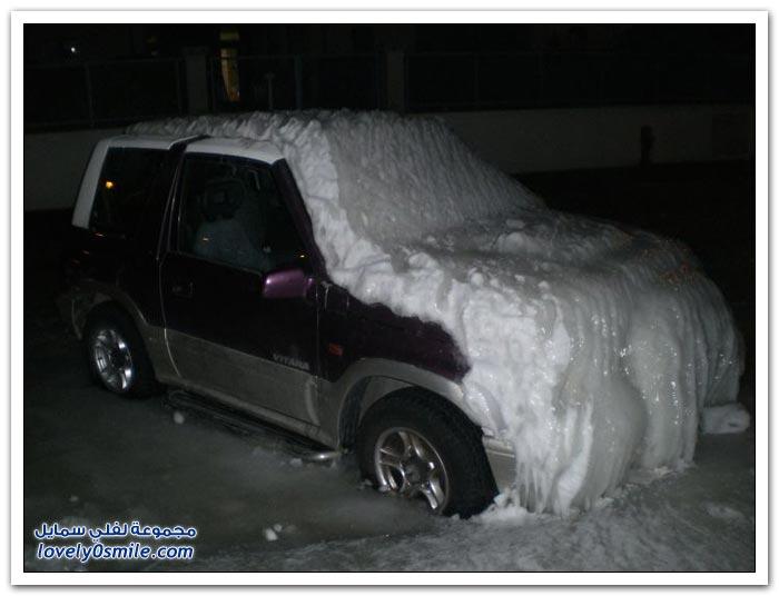 كيف تكون السيارات بعد عاصفة ثلجية؟