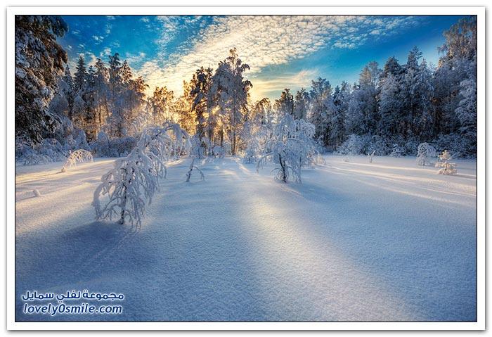 المناظر الطبيعية الرائعة في فصل الشتاء