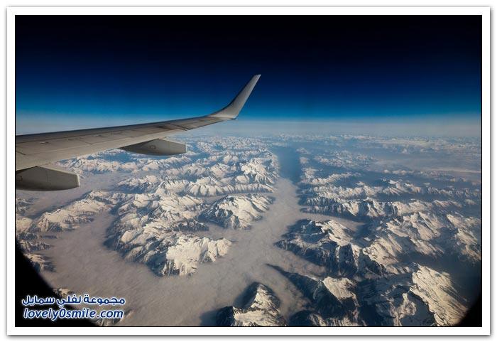 صور من نافذة الطائرة لبعض مدن العالم