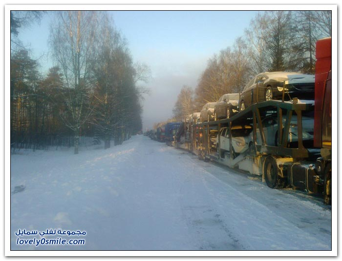 الثلوج في الطرق الروسية