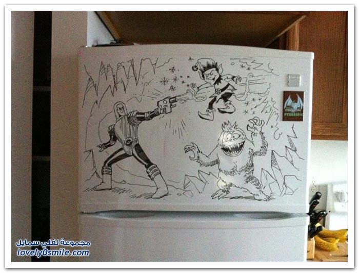 الرسم على الثلاجة