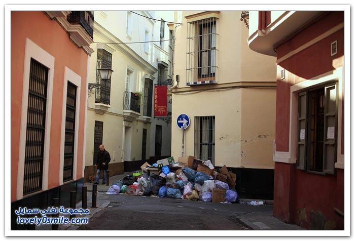 إضراب عمال النظافة في اسبانيا