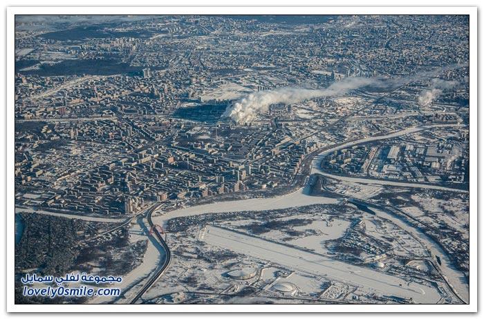 صور موسكو في الشتاء من الطائرة