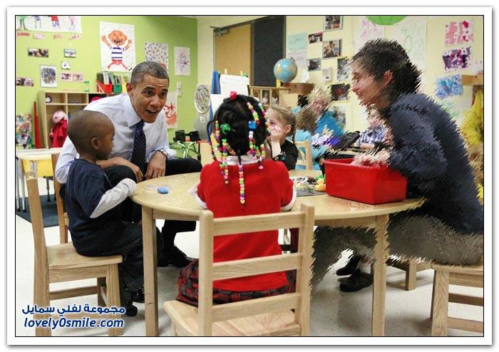 أوباما مع الأطفال