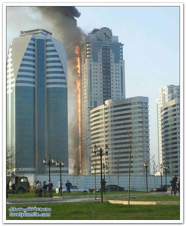 صور وفيديو لحريق فندق في مدينة غروزني