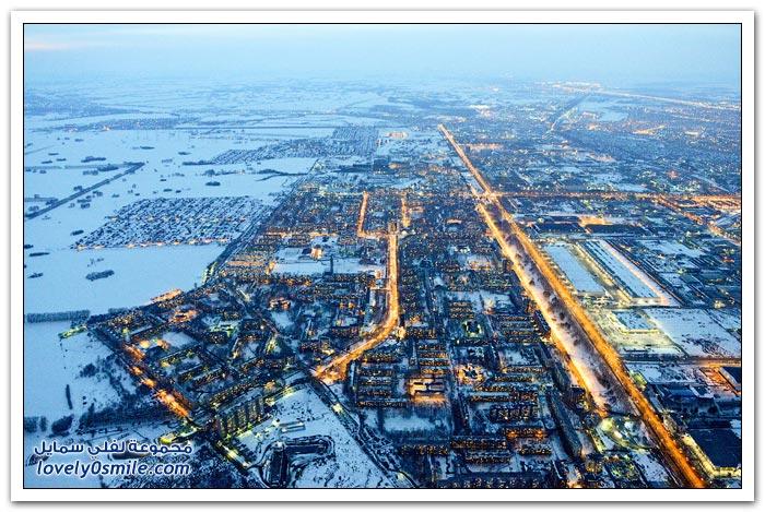 مدينة نوفوسيبيرسك الروسية ليلا