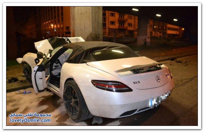 حادث مرسيدس بنز SLS AMG رودستر