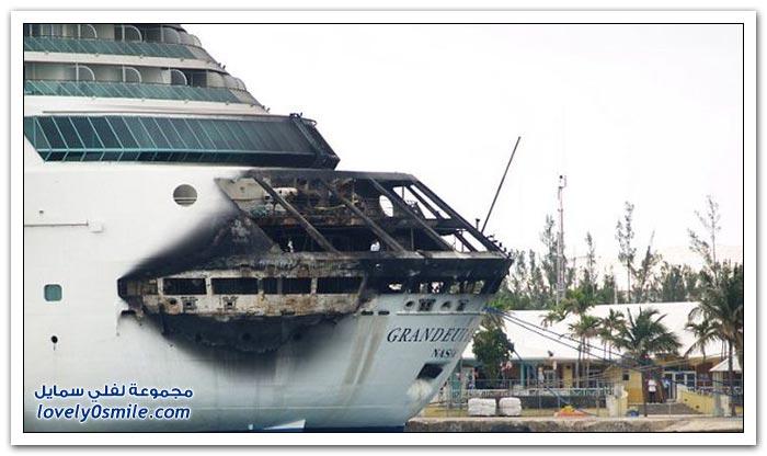 حريق على سفينة سياحية يجبرها على التوقف في جزر البهاما