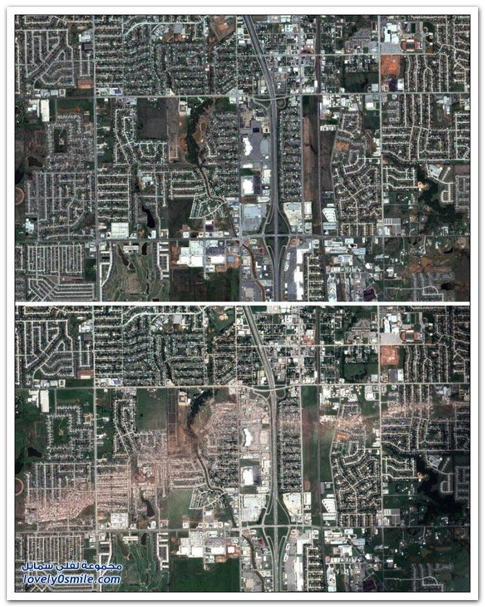 مدينة مور في أمريكا قبل وبعد الإعصار