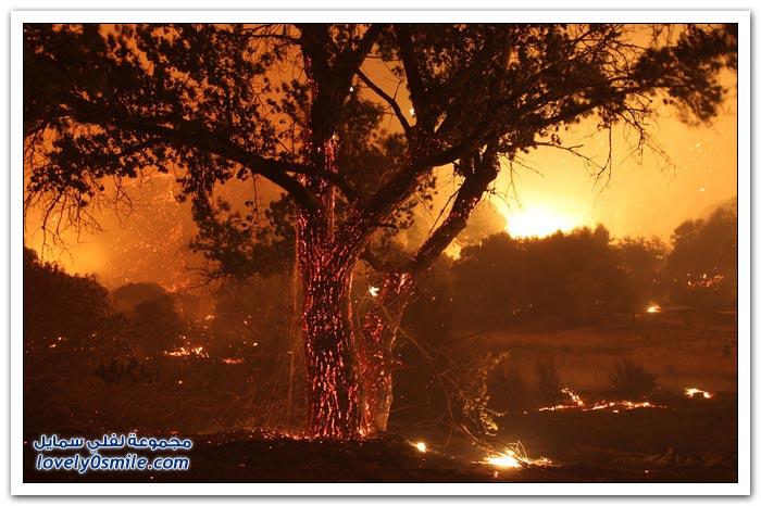 مناظر عجيبة للحرائق في ولاية كاليفورنيا