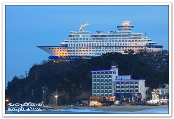 فندق على شكل باخرة في كوريا الجنوبية