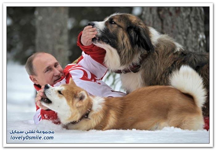بعض السياسيين والمشاهير وحيواناتهم الأليفة