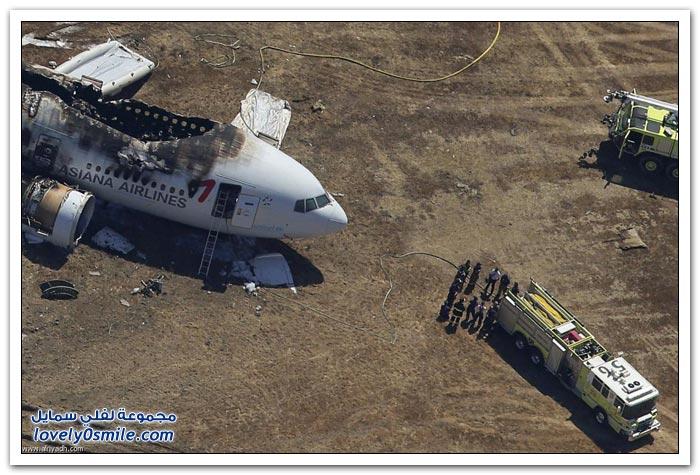 صور تحطم طائرة فی سان فرانسیسکو