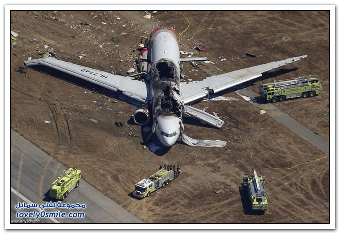صور تحطم طائرة في سان فرانسيسكو