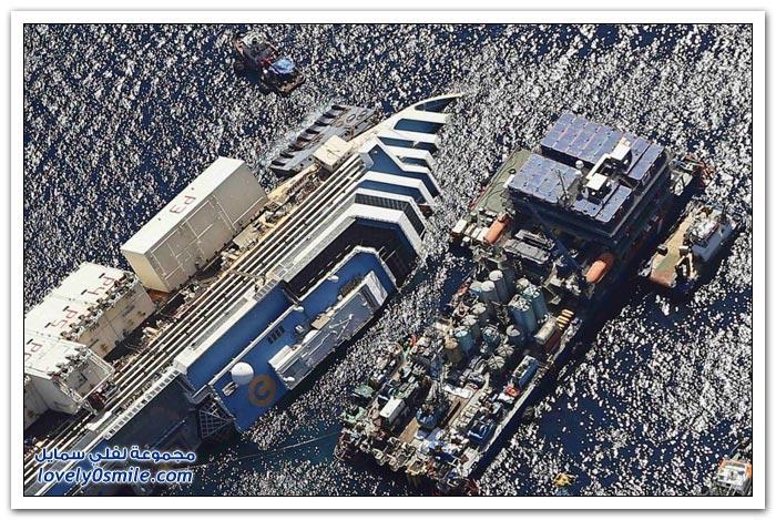 البدء بإعادة السفينة كونكورديا إلى الوضع الأفقي يوم الاثنين