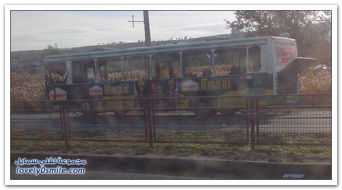 الصور الأولى لتفجير حافلة ركاب في فولغوغراد في روسيا