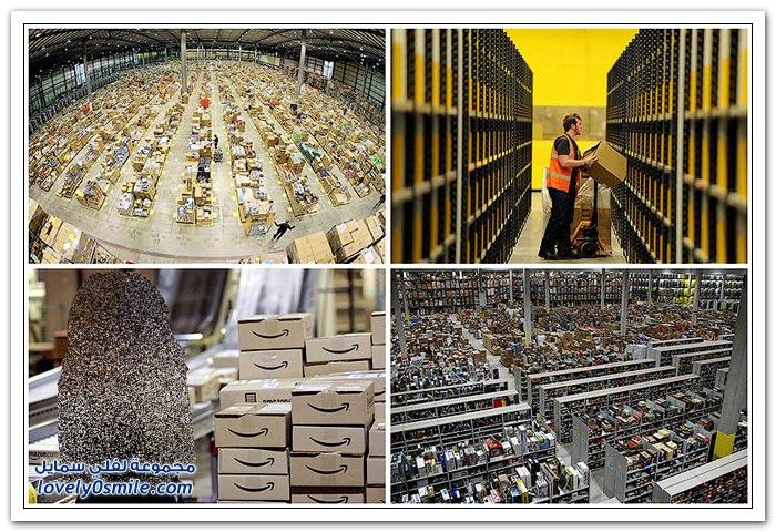 مستودعات شركة أمازون في بعض دول العالم