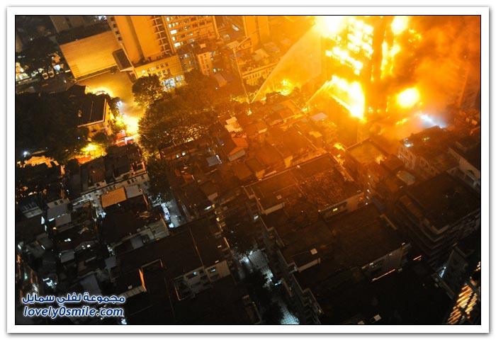 حريق يلتهم أحد البنايات في الصين