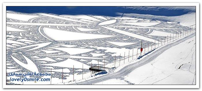 الرسم على الثلج للفنان سيمون بيك