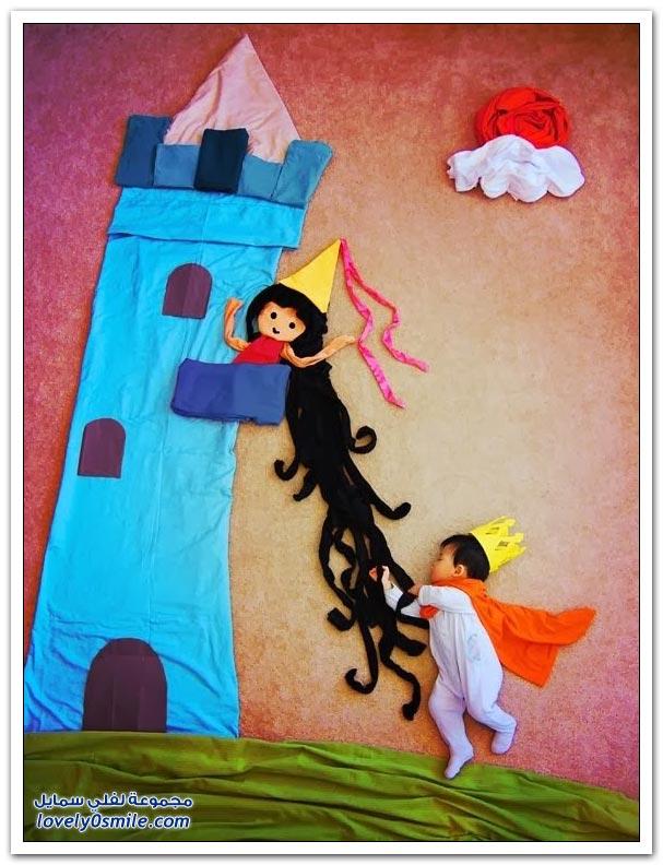 لوحات إبداعية باستخدام الأطفال أثناء النوم