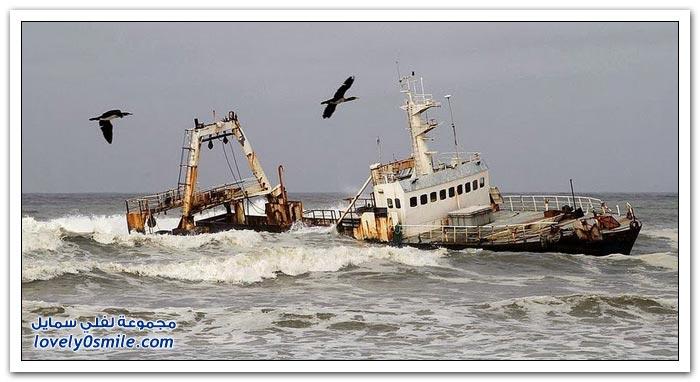 حطام السفن على سواحل ناميبيا