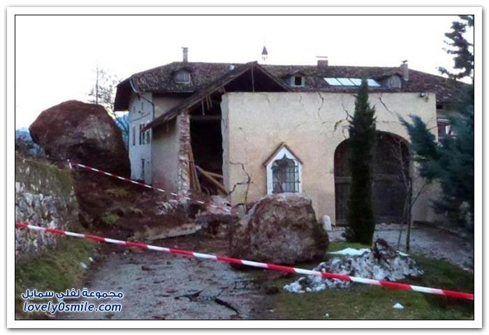 سقوط صخرة ضخمة على مزرعة في جنوب تيرول بإيطاليا