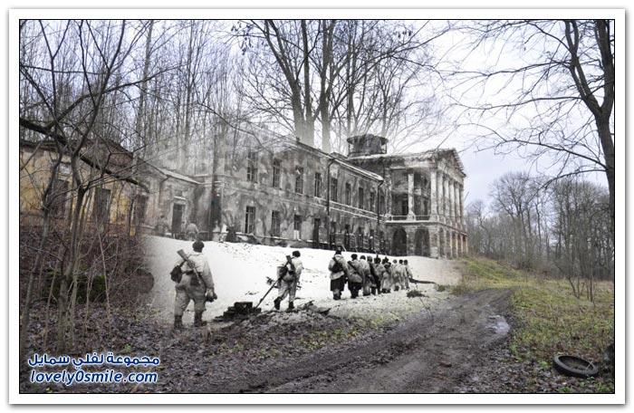دمج الصور بين الماضي والحاضر للينينغراد بين عامي 1944-2014م
