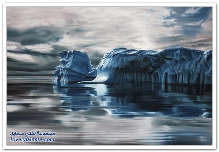 لوحات واقعية للجبال الجليدية