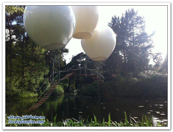 الجسر الطائر فوق بحيرة في حديقة tatton اليابانية في المملكة المتحدة