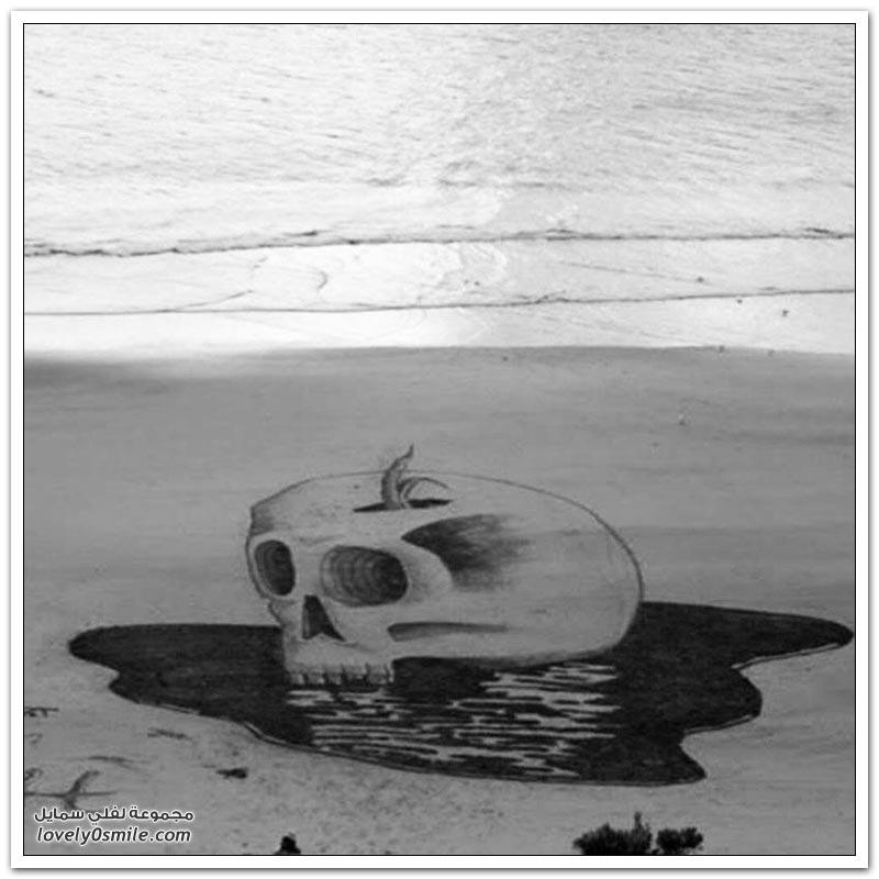 رسوم ثلاثية الأبعاد على شاطئ البحر للفنان جيمي هاركينز