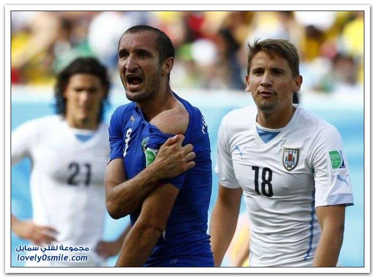 الفيفا يعاقب سواريز بسبب عضه المدافع الإيطالي كيليني