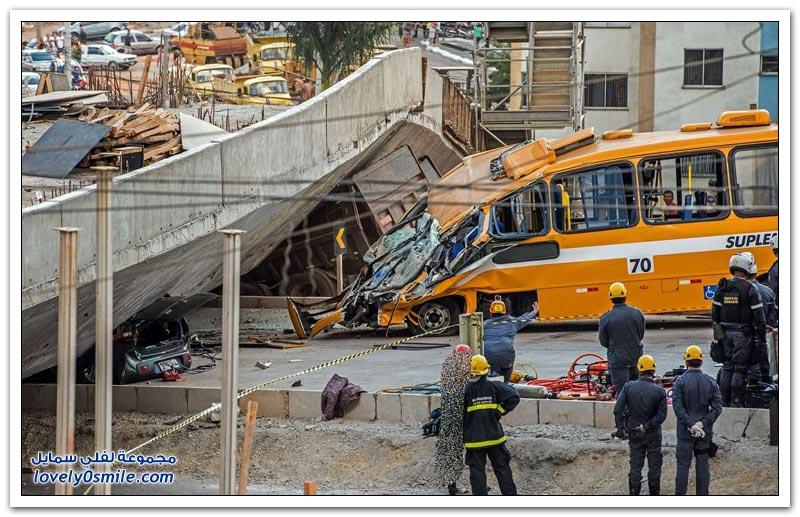 انهيار جسر فوق حافلة في البرازيل