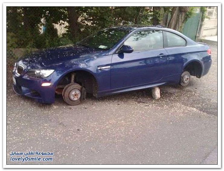 سيارات سُرقت إطاراتها