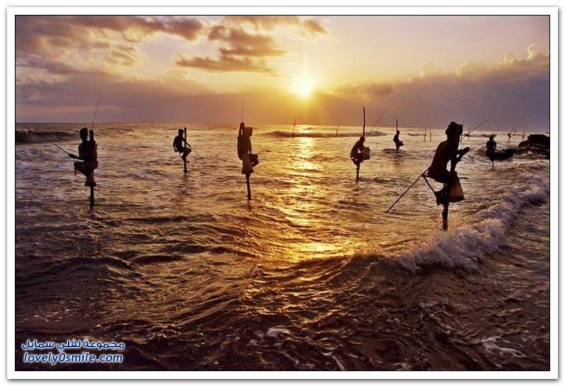 الصيد باستخدام الركيزة في سريلانكا