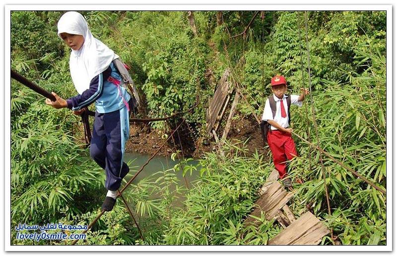الطُرق التي يسلُكها طلاب المدارس في قري شرق آسيا