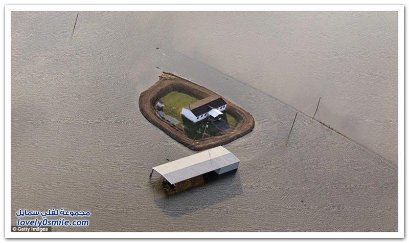 حال المنازل أثناء فيضانات نهر المسيسيبي