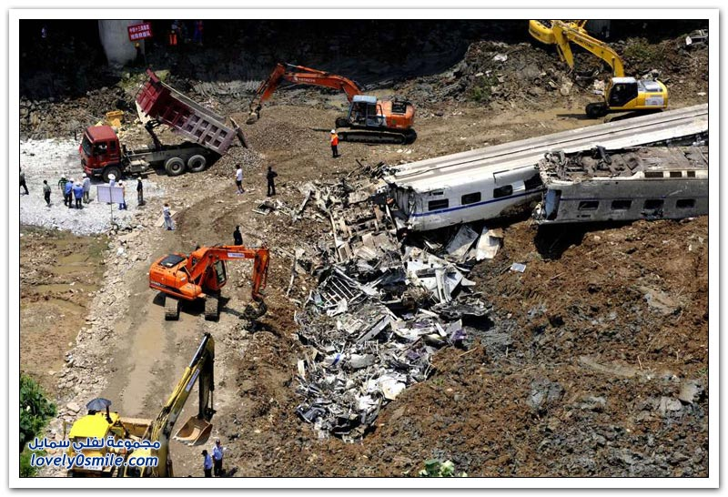 حادث قطار مروع في الصين