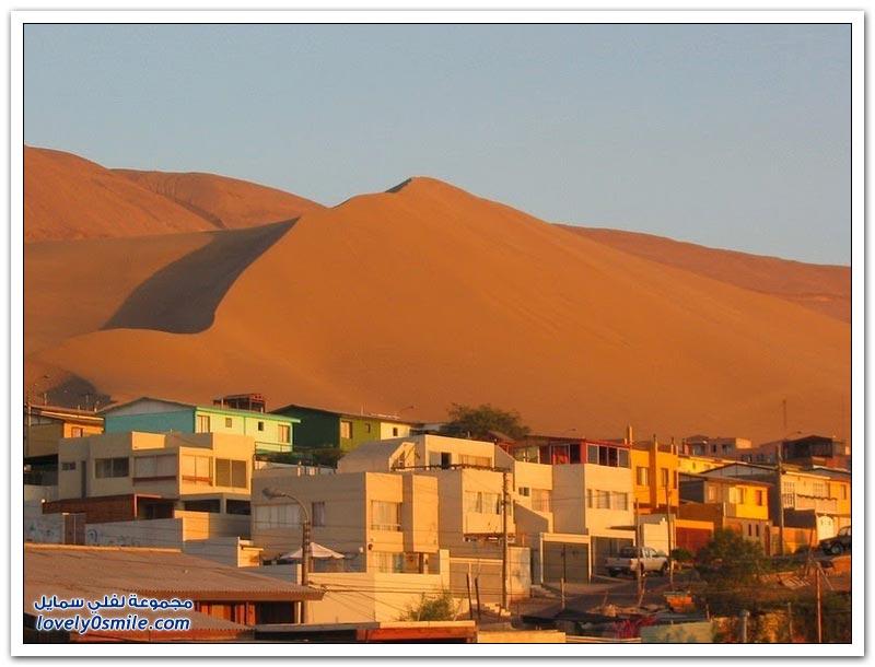 الكثبان الرملية قبالة ساحل إكيكي في تشيلي