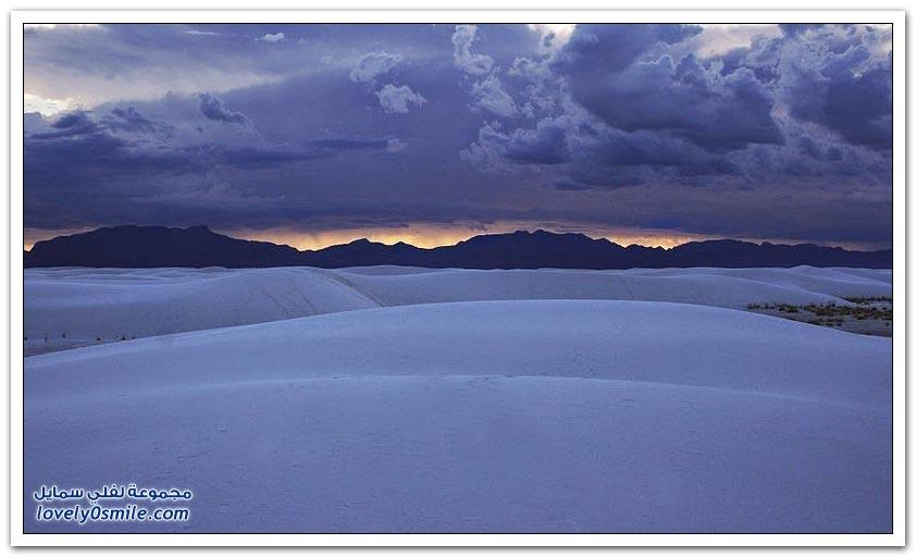 صحراء الرمال البيضاء في نيو مكسيكو بالولايات المتحدة