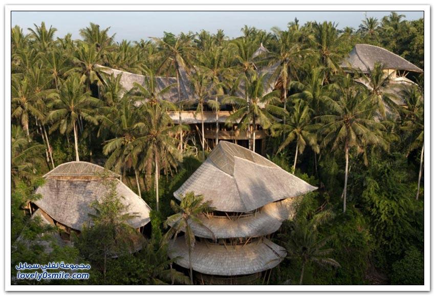 بيوت الخيزران في جزيرة بالي بإندونيسيا