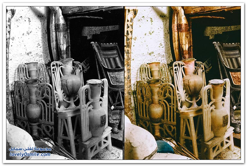 مقبرة توت عنخ آمون بالألوان لأول مرة