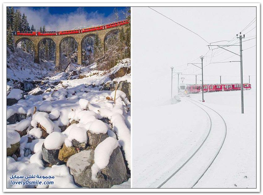 المناظر الخلابة التي يمر بها قطار بيرنينا إكسبريس السويسري في جبال الألب
