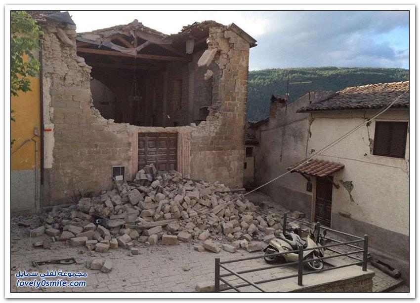 صور إطاليا قبل وبعد الزلزال