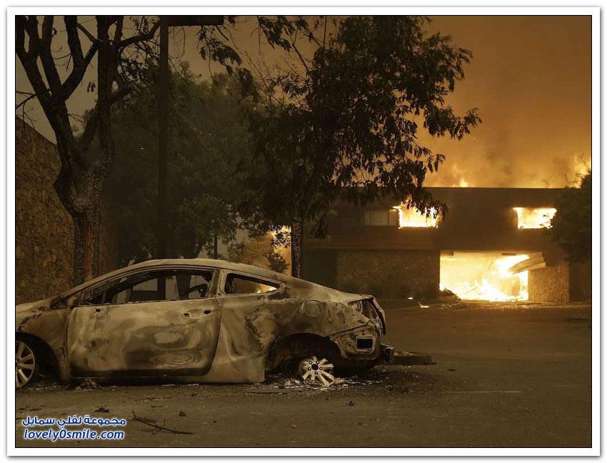 الخراب والرماد والدخان كاليفورنيا قبل وبعد حرائق الغابات