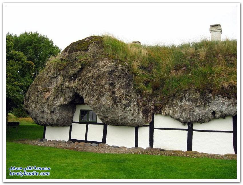 منازل دنماركية تقليدية ذات أسقف مصنوعة من الأعشاب البحرية