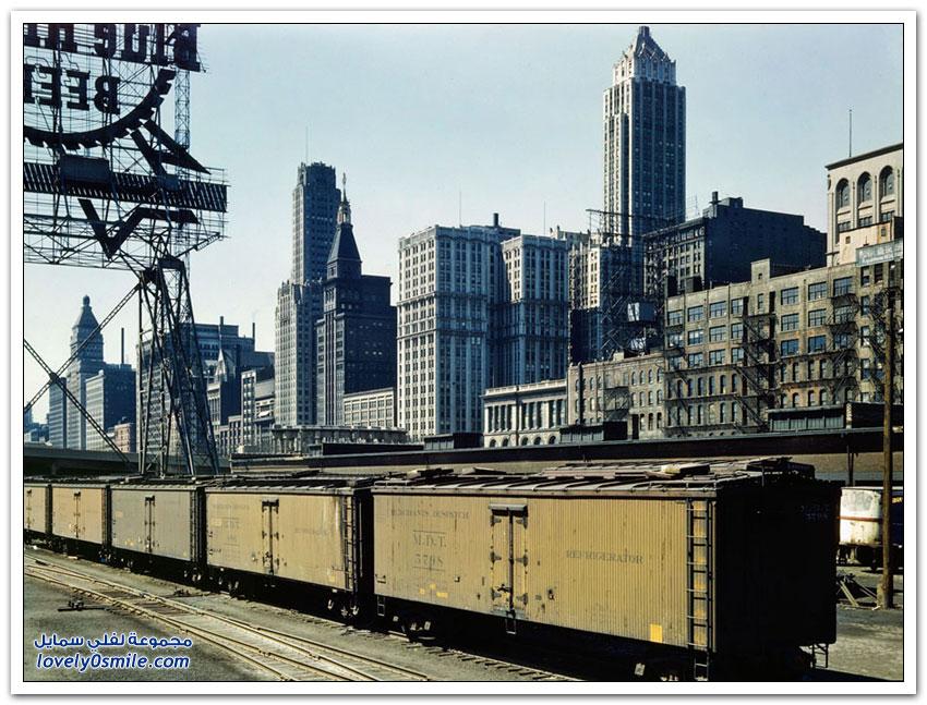 صور ملونة من سكك الحديد في شيكاغو عام 1940م