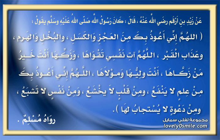 اللهم إني أعوذ بك من العجز والكسل والبخل والهرم وعذاب القبر